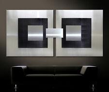 original abstracto Metal Cuadro Mural Moderno Art Decó NEGRO GRIS PLATA 3d