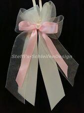 10 Antennenschleifen Autoschleifen Hochzeit creme champagner rosa Perlenherz