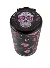 Portable Butt Bucket Cup Holder Cigarette Ashtray W/ LED Light- Pink Flowers
