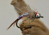 1 Doz Flies - Brass Bead Rainbow Warrior Midge Nymph Fly - Mustad Signature Hook