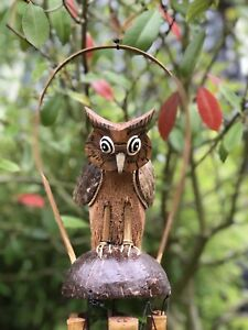 Bamboo and Coconut Garden Wind Chimes with Owl. Handmade Fairtrade Outdoor