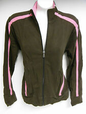 TALBOTS WOMAN'S LONG SLEEVE SWEATSHIRT ZIPPERED FRONT SMALL BROWN w/PINK  B26