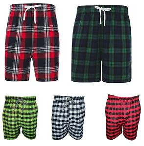 Flannel Brushed Cotton Mens Lounge Shorts Pyjamas Bottoms Sleepwear With Pockets