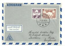 GREENLAND-AIRMAIL LETTER SHEET TO THE U.K-COST 50 SHILLINGS AT ONE TIME! 11.6.53