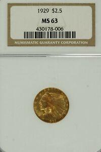 1929 $2.50 Gold Indian Head Quarter Eagle  : NGC MS63