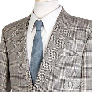 CORNELIANI Sport Coat 38 S in Golden Yellow Beige Silk-Wool Plaid ITALY