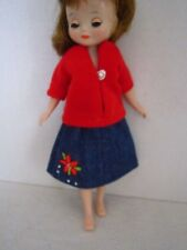 "Red Top and Denim Skirt with Poinsettia for 8"" Tonner or Vintage Betsy McCall"