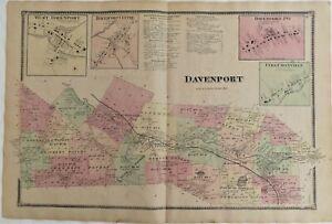 1869 NY Town & Villages Davenport Fergusonville Delaware Co Original Atlas Map