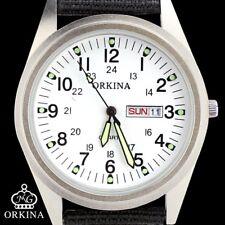 ORKINA White Dial Day Week Display Quartz Mens Fabric Strap Wrist Watch Gift