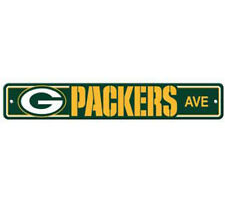 """Green Bay Packers Ave Street Sign 4""""x24"""" NFL Football Team Logo Avenue Man Cave"""