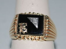 """10k Gold Sibnet ring with """"E"""" on Onyx and a diamond"""