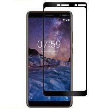 Protezione proteggi schermo pellicola display vetro bordo NERO per Nokia 7 Plus