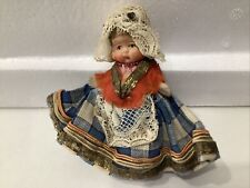 Antique German Bisque Miniature Doll Hand Made Costume
