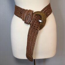 Vintage Brown Braided Waist Belt Boho Wide Straw Belt Bohemian Style One Size