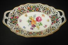 "VTG DRESDEN ""SCHUMANN BAVARIA OVAL 2 HANDLED DISH RETICULATED 9""  MIXED FLORAL"