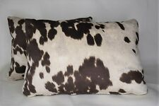TWO large cowhide beige brown black white rectangle lumbar pillows western