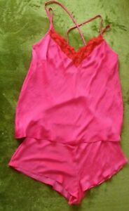 marks & spencer pink silky soft cami top & french knickers set uk 12 new