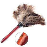 Anti-static Ostrich Feather Fur Brush Duster Dust Cleaning Tool Wood Handle Prof