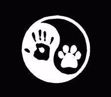 Ying yang human hand dog paw hunter vinyl window decal sticker White