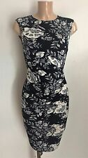 Navy White Floral Print Ruch Feature Front Wiggle Pencil Smart  Dress Size 14