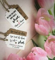 Personalised We Tied the Knot Take a Shot Tags Wedding Favour Thank You PAT611k1