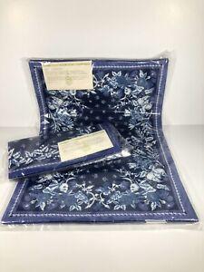 "Williams Sonoma Provence Blue White 4 Placemats & Napkins 20"" x 14"" B New"