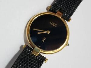 Authentic Cartier Watch Must Vendome Vermeil 925 Gold Brown Unisex Quartz 30mm