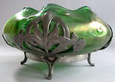 Fine KRALIK SEA URCHIN Pewter Mounted Art Nouveau Glass Bowl  c. 1910  antique