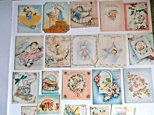 Vintage (40's) Baby Announcement Shower Card Lot of 20  Crafting  Repurpose