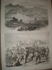 Village of Oghee Punjab India & Peshawar mountain battery 1868 prints ref W1