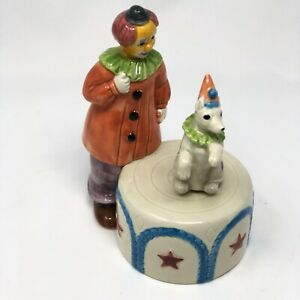 """Clown And His Dog Music Box Vintage Japan Plays """"Send In The Clowns"""" 8.5"""""""