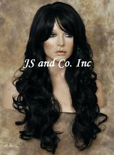 Curly Human Hair Blend Long Heat Safe Black  Layered WIG WBNK 1