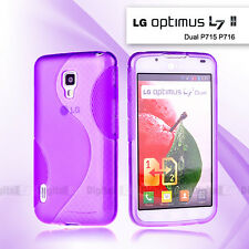 Purple S Curved GEL Case for LG Optimus L7 II Dual P715 P716 Screen Film