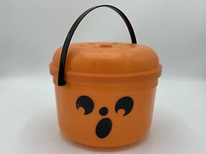 Vintage 1986 McDonalds Halloween McBoo Bucket Orange Pumpkin Treat Pail