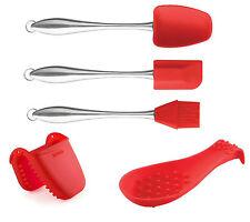Dexas Red 5pc Silicone Kitchen Utensil Set - Spatula Oven Mitt & Spoon Rest