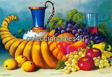 POSTER painting print art fruits apple grapes uvas frutas manzanas  11x16