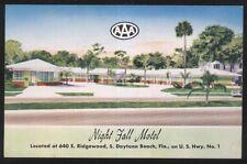 Postcard Daytona Beach Florida/Fl Night Fall Motel Motor Court view 1940's