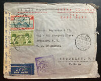 1941 Alexandria Egypt Airmail Censored Cover To Brooklyn NY Usa Via Hong Kong