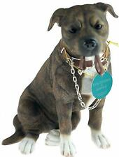 Brindle Staffie with Rose Glass Paperweight in Gift Box Christmas Pr AD-SBT2RPW