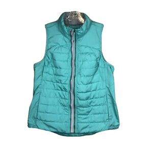 Tangerine Vest Jacket Puffer Down Full Zip Teal Turquoise Womens Size L Packable