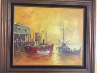 Vintage Oil Painting Artist Signed Boats Nautical Seascape Fishing Village