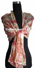 New Stunning 100% Pure Silk Floral Sheer Scarf Wrap, Peach/Red