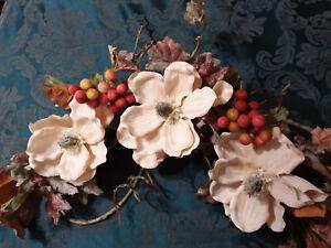 Home Interiors Floral Magnolia Vineyard Swag/Tuscan Decor/ NEW/FREE SHIPPING
