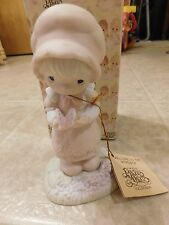 Precious Moments Figurine E-9258 We Are God's Workmanship Girl Butterfly 1982 XC