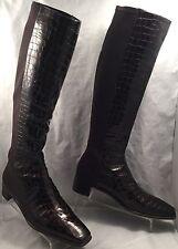 STUART WEITZMAN Brown Patent Croc Stretch Knee-High Riding 5050 Boots womens 10