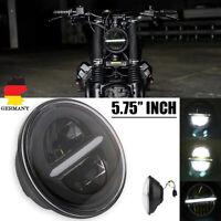 """5-3/4""""5.75""""Rund LED Motorrad Hi/Lo Scheinwerfer Projektor DRL Für Harley Schwarz"""