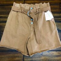 New $88 Free People Women's Cindy High Rise Button Fly Utility Shorts Size 8 NWT