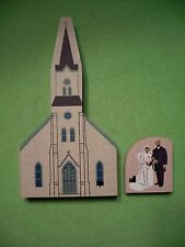 2 piece Cat's Meow Village ' Series Xi Immanuel Church ' & bride and groom.