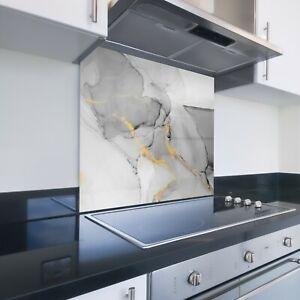 Toughened Printed Kitchen Glass Splashback - Bespoke Sizes - Grey Marble 114