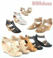 Women's Fashion OpenToe Wedge Heel Plaform Ankle Strap Sandals Shoes
